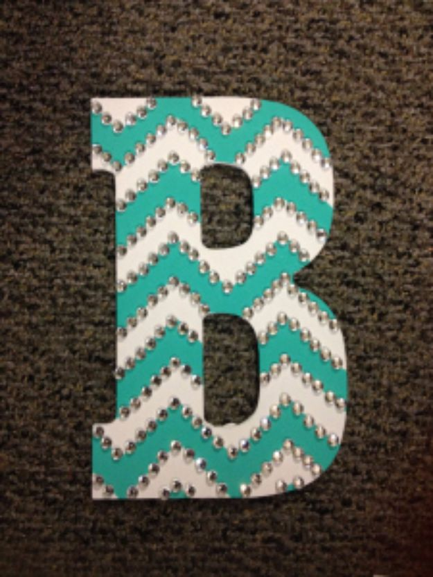 DIY Wall Letters and Word Signs - Rhinestoned Chevron Letter - Initials Wall Art for Creative Home Decor Ideas - Cool Architectural Letter Projects and Wall Art Tutorials for Living Room Decor, Bedroom Ideas. Girl or Boy Nursery. Paint, Glitter, String Art, Easy Cardboard and Rustic Wooden Ideas - DIY Projects and Crafts by DIY JOY #diysigns #diyideas #diyhomedecor