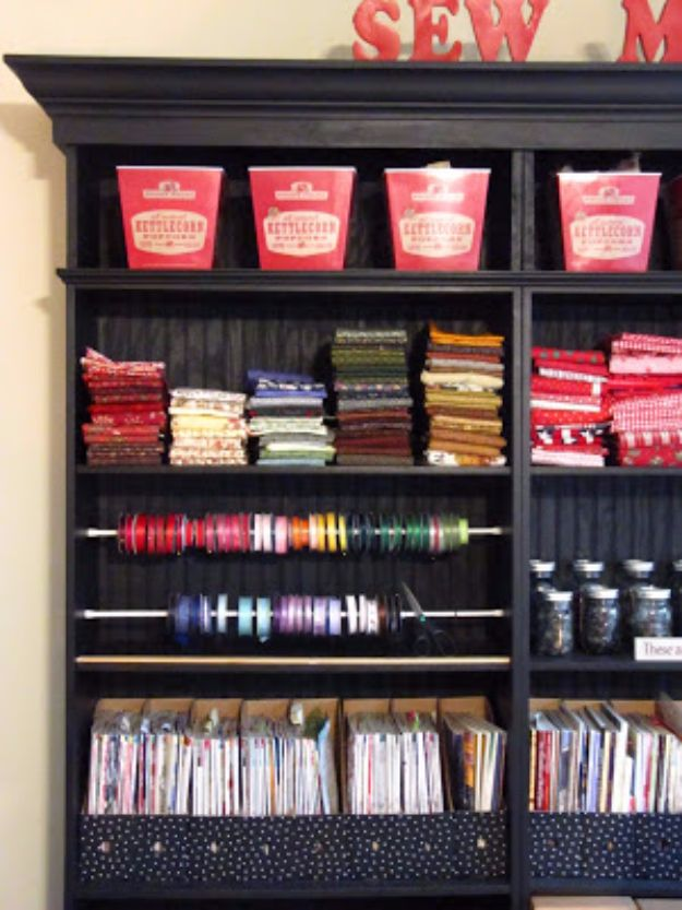 Cool DIY Ideas With Tension Rods - Ribbon Organizer - Quick Do It Yourself Projects, Easy Ways To Save Money, Hacks You Can Do With A Tension Rod - Window Treatments, Small Spaces, Apartments, Storage