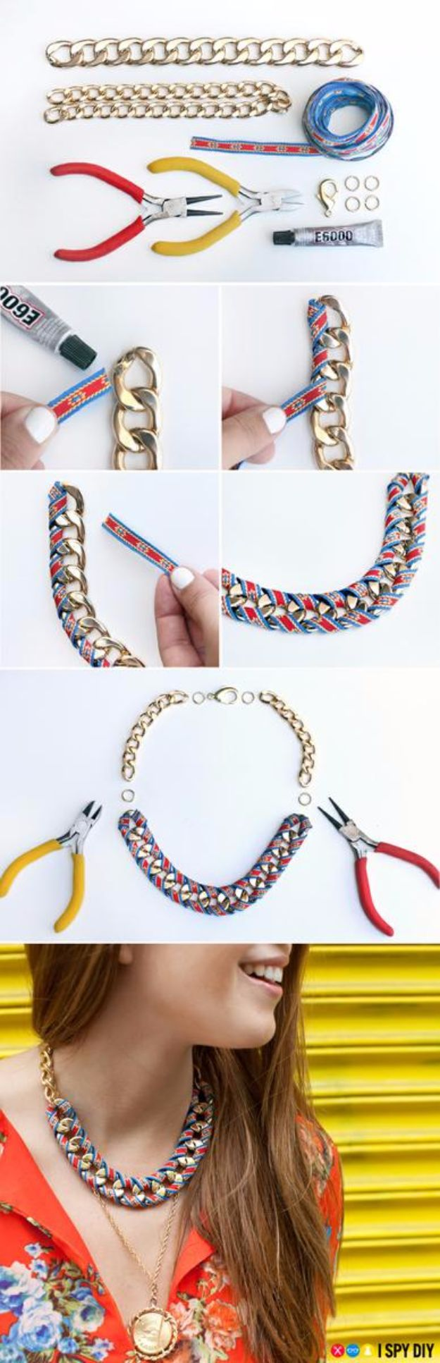 DIY Necklace Ideas - Ribbon Wrap Chain Necklace - Easy Handmade Necklaces with Step by Step Tutorials - Pendant, Beads, Statement, Choker, Layered Boho, Chain and Simple Looks - Creative Jewlery Making Ideas for Women and Teens, Girls - Crafts and Cool Fashion Ideas for Women, Teens and Teenagers #necklaces #diyjewelry #jewelrymaking #teencrafts