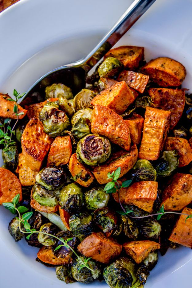 Best Brussel Sprout Recipes - Roasted Sweet Potatoes and Brussels Sprouts - Easy and Quick Delicious Ideas for Making Brussel Sprouts With Bacon, Roasted, Creamy, Healthy, Baked, Sauteed, Crockpot, Grilled, Shredded and Salad Recipe Ideas - Cool Lunches, Dinner, Snack, Side and DIY Dinner Vegetable Dishes http://diyjoy.com/best-brussel-sprout-recipes