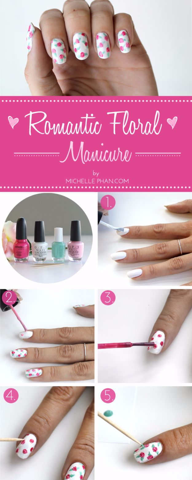 Quick Nail Art Ideas - Romantic Floral Mani DIY - Easy Step by Step Nail Designs With Tutorials and Instructions - Simple Photos Show You How To Get A Perfect Manicure at Home - Cool Beauty Tips and Tricks for Women and Teens