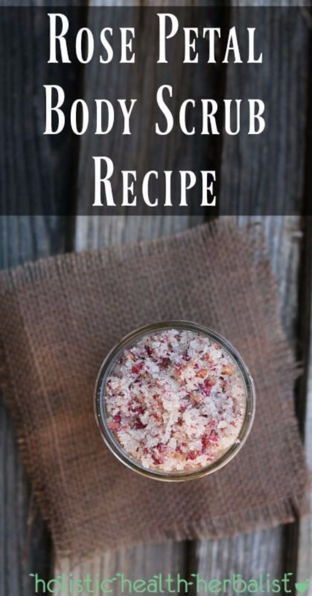DIY Ideas With Rose Petals - Rose Petal Body Scrub - Crafts and DIY Projects, Recipes You Can Make With Rose Petals - Creative Home Decor and Gift Ideas Make Awesome Mothers Day and Christmas Gifts - Crafts and Do It Yourself by DIY JOY http://diyjoy.com/diy-ideas-rose-petals