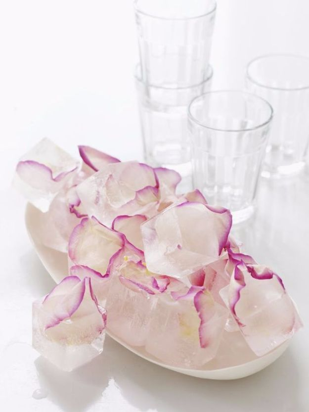 DIY Ideas With Rose Petals - Rose Petal Ice Cubes - Crafts and DIY Projects, Recipes You Can Make With Rose Petals - Creative Home Decor and Gift Ideas Make Awesome Mothers Day and Christmas Gifts - Crafts and Do It Yourself by DIY JOY http://diyjoy.com/diy-ideas-rose-petals