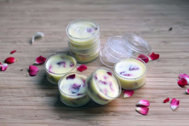 DIY Ideas With Rose Petals - Rose Petal Lip Balm - Crafts and DIY Projects, Recipes You Can Make With Rose Petals - Creative Home Decor and Gift Ideas Make Awesome Mothers Day and Christmas Gifts - Crafts and Do It Yourself by DIY JOY http://diyjoy.com/diy-ideas-rose-petals