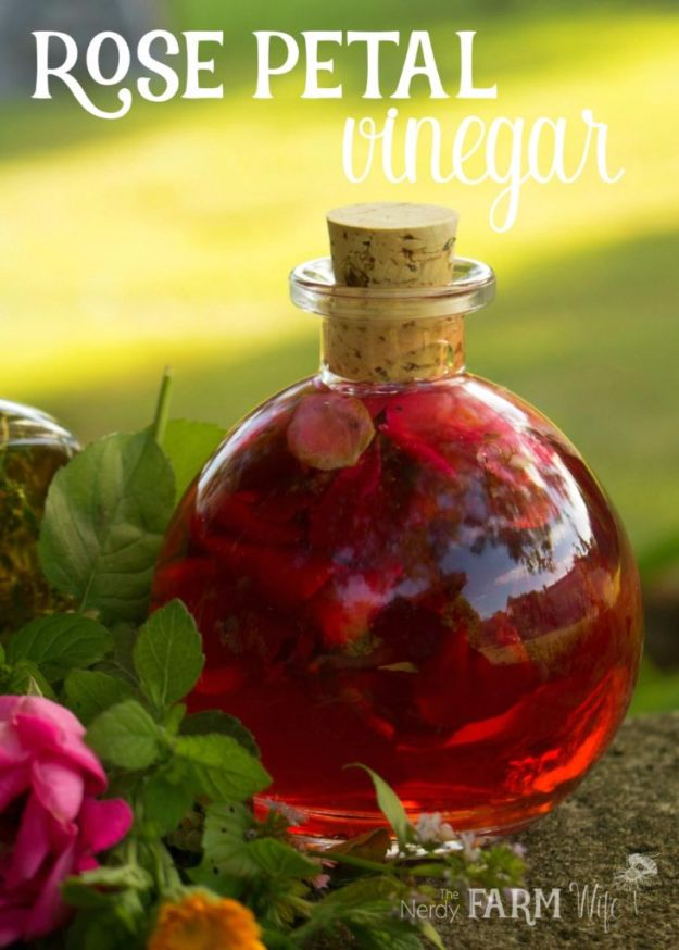 DIY Ideas With Rose Petals - Rose Petal Vinegar - Crafts and DIY Projects, Recipes You Can Make With Rose Petals - Creative Home Decor and Gift Ideas Make Awesome Mothers Day and Christmas Gifts - Crafts and Do It Yourself by DIY JOY #rosecrafts #diygifts