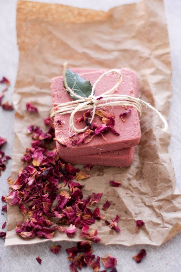 DIY Ideas With Rose Petals - Rosewater Pink Clay Soap - Crafts and DIY Projects, Recipes You Can Make With Rose Petals - Creative Home Decor and Gift Ideas Make Awesome Mothers Day and Christmas Gifts - Crafts and Do It Yourself by DIY JOY #rosecrafts #diygifts