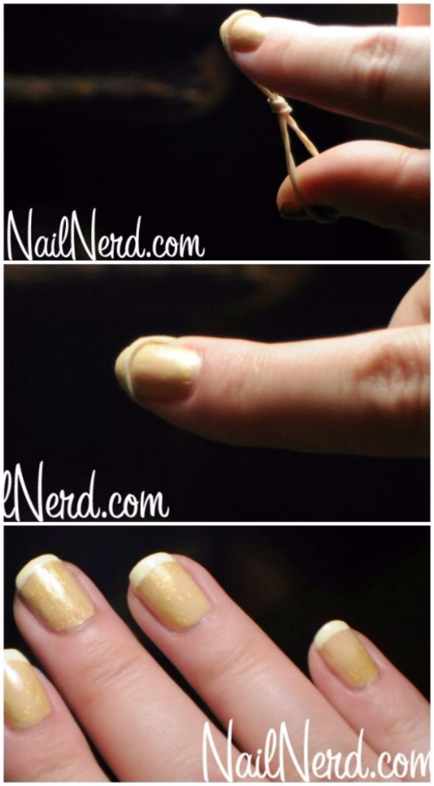Quick Nail Art Ideas - Rubber Band French Tip - Easy Step by Step Nail Designs With Tutorials and Instructions - Simple Photos Show You How To Get A Perfect Manicure at Home - Cool Beauty Tips and Tricks for Women and Teens