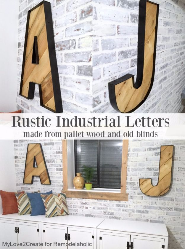 DIY Wall Letters and Word Signs - Rustic Industrial Letters - Initials Wall Art for Creative Home Decor Ideas - Cool Architectural Letter Projects and Wall Art Tutorials for Living Room Decor, Bedroom Ideas. Girl or Boy Nursery. Paint, Glitter, String Art, Easy Cardboard and Rustic Wooden Ideas - DIY Projects and Crafts by DIY JOY http://diyjoy.com/diy-letter-word-signs
