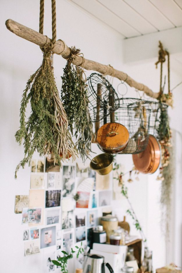 DIY Ideas with Dried Herbs - Rustic Pot Rack With Dried Herbs - Creative Home Decor With Easy Step by Step Tutorials for Making Herb Crafts, Projects and Recipes - Cool DIY Gift Ideas and Cheap Homemade Gifts - DIY Projects and Crafts by DIY JOY #diy #herbs #gifts