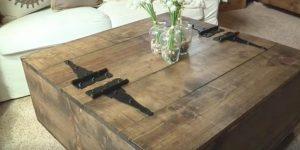 After Looking Everywhere For A Rustic Coffee Table With Storage, She Decided To Make This One (Watch!)