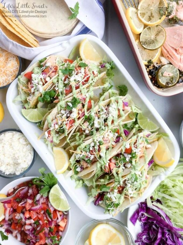 Best Easter Dinner Recipes - Salmon Tacos With Fresh Salsa And Avocado Sauce - Easy Recipe Ideas for Easter Dinners and Holiday Meals for Families - Side Dishes, Slow Cooker Recipe Tutorials, Main Courses, Traditional Meat, Vegetable and Dessert Ideas - Desserts, Pies, Cakes, Ham and Beef, Lamb - DIY Projects and Crafts by DIY JOY