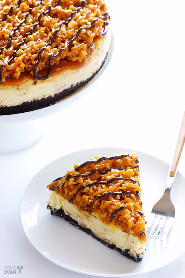 Best Cheesecake Recipes - Samoa Cheesecake - Easy and Quick Recipe Ideas for Cheesecakes and Desserts - Chocolate, Simple Plain Classic, New York, Mini, Oreo, Lemon, Raspberry and Quick No Bake - Step by Step Instructions and Tutorials for Yummy Dessert - DIY Projects and Crafts by DIY JOY http://diyjoy.com/best-cheesecake-recipes
