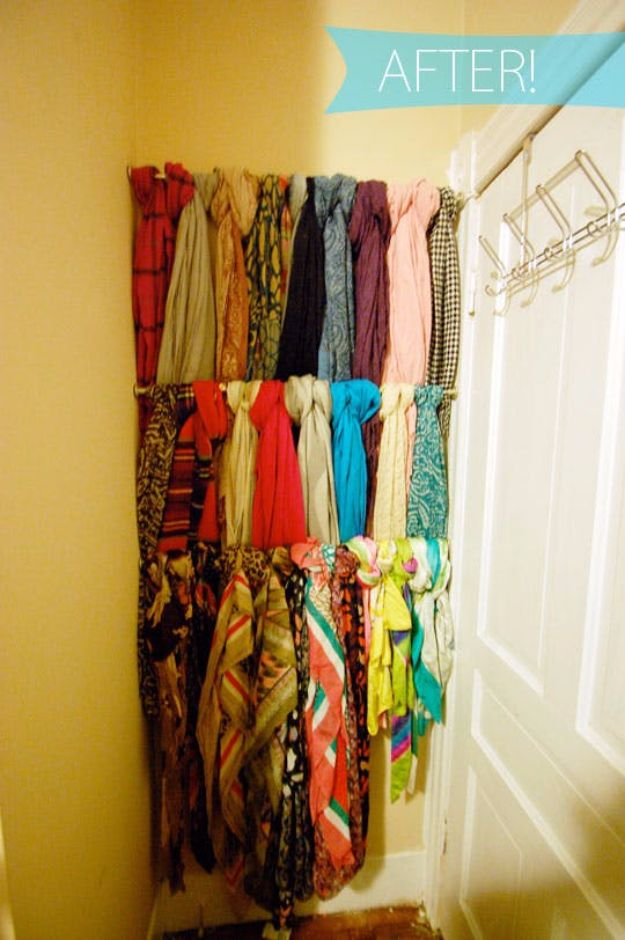 Cool DIY Ideas With Tension Rods - Scarf Rack - Quick Do It Yourself Projects, Easy Ways To Save Money, Hacks You Can Do With A Tension Rod - Window Treatments, Small Spaces, Apartments, Storage