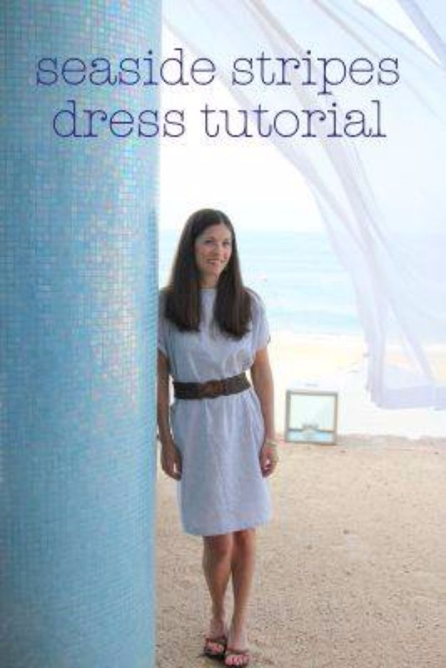 DIY Dresses to Sew for Summer - Seaside Stripes Summer Dress - Best Free Patterns For Dress Ideas - Easy and Cheap Clothes to Make for Women and Teens - Step by Step Sewing Projects - Short, Summer, Winter, Fall, Inexpensive DIY Fashion