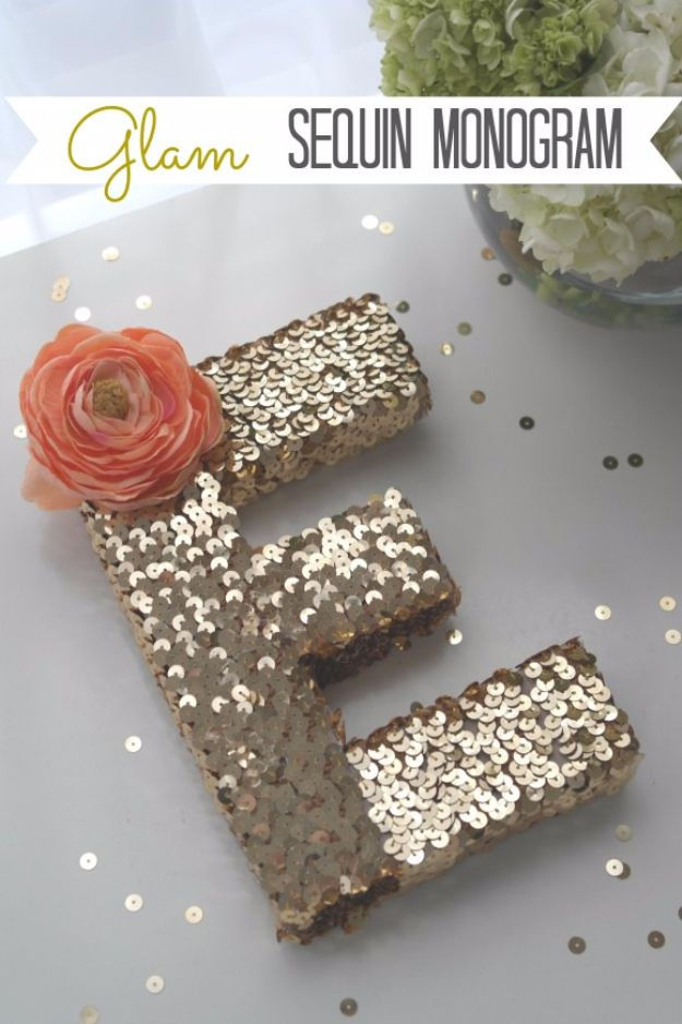 DIY Wall Letters and Word Signs - Sequin Monogram Letter DIY - Initials Wall Art for Creative Home Decor Ideas - Cool Architectural Letter Projects and Wall Art Tutorials for Living Room Decor, Bedroom Ideas. Girl or Boy Nursery. Paint, Glitter, String Art, Easy Cardboard and Rustic Wooden Ideas - DIY Projects and Crafts by DIY JOY http://diyjoy.com/diy-letter-word-signs