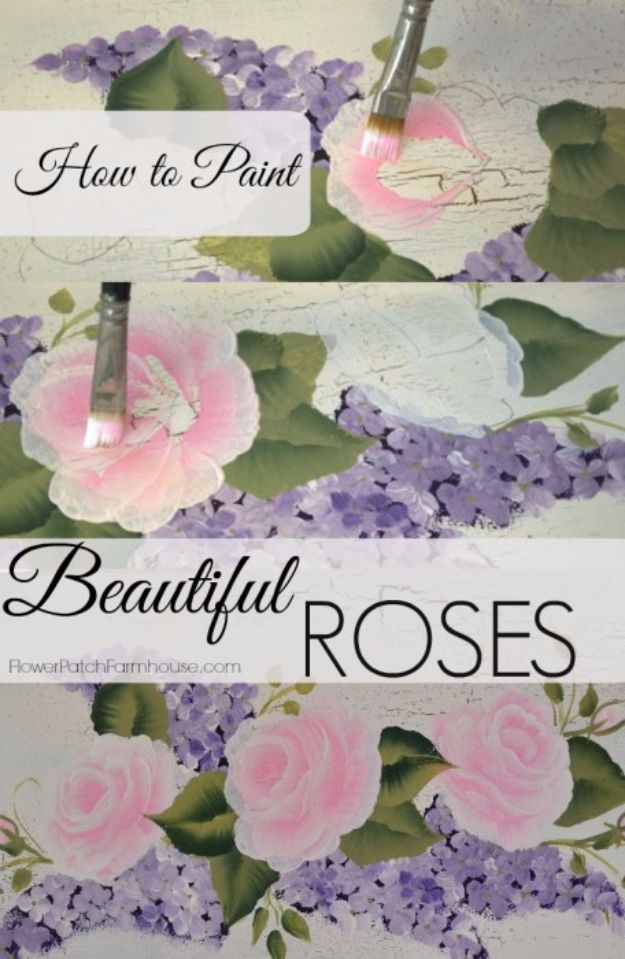DIY Canvas Painting Ideas - Shabby Rose Canvas Painting - Cool and Easy Wall Art Ideas You Can Make On A Budget #painting #diyart #diygifts