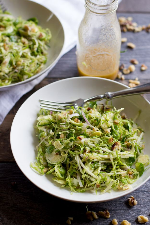 Best Brussel Sprout Recipes - Shaved Brussels Sprout Salad With Apples And Walnuts - Easy and Quick Delicious Ideas for Making Brussel Sprouts With Bacon, Roasted, Creamy, Healthy, Baked, Sauteed, Crockpot, Grilled, Shredded and Salad Recipe Ideas - Cool Lunches, Dinner, Snack, Side and DIY Dinner Vegetable Dishes http://diyjoy.com/best-brussel-sprout-recipes