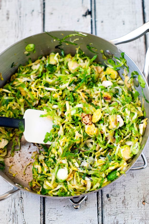 Best Brussel Sprout Recipes - Shaved Brussels Sprout Saute - Easy and Quick Delicious Ideas for Making Brussel Sprouts With Bacon, Roasted, Creamy, Healthy, Baked, Sauteed, Crockpot, Grilled, Shredded and Salad Recipe Ideas #recipes