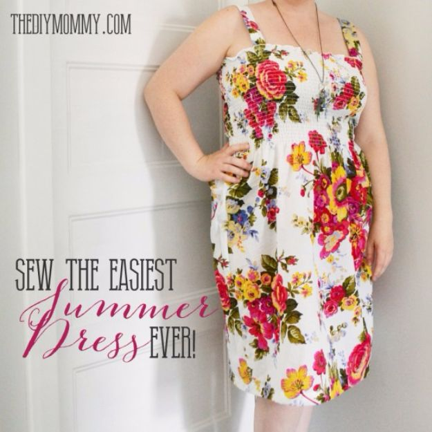 DIY Dresses to Sew for Summer - Shirred Summer Dress - Best Free Patterns For Dress Ideas - Easy and Cheap Clothes to Make for Women and Teens - Step by Step Sewing Projects - Short, Summer, Winter, Fall, Inexpensive DIY Fashion http://diyjoy.com/sewing-dresses-patterns-summer