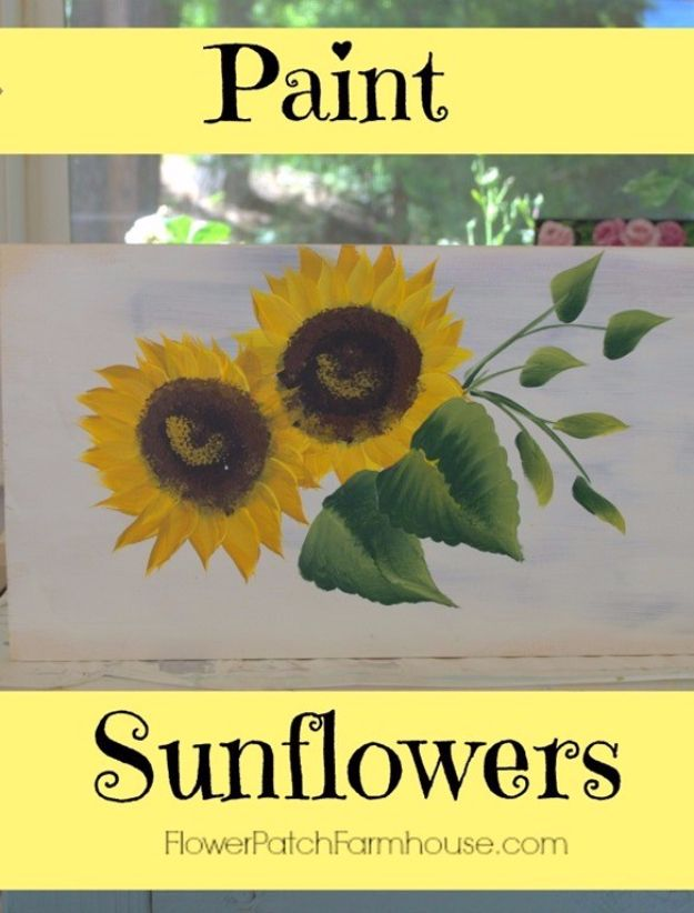 DIY Canvas Painting Ideas - Simple And Easy Sunflowers - Cool and Easy Wall Art Ideas You Can Make On A Budget #painting #diyart #diygifts