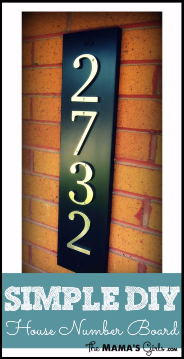 DIY House Numbers - Simple DIY House Number Board - DIY Numbers To Put In Front Yard and At Front Door - Architectural Numbers and Creative Do It Yourself Projects for Making House Numbers - Easy Step by Step Tutorials and Project Ideas for Home Improvement on A Budget #homeimprovement #diyhomedecor