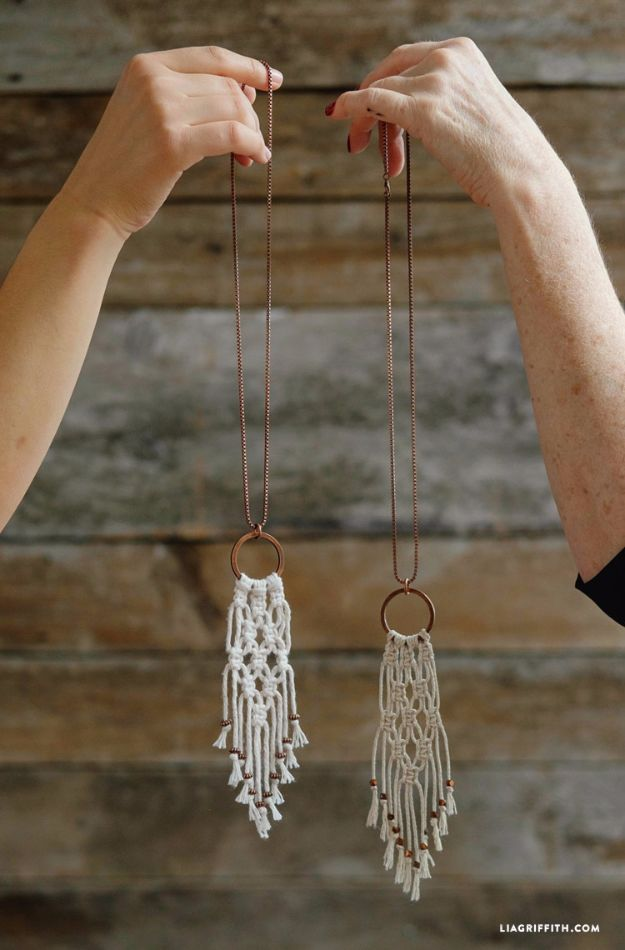 Cheap DIY Necklaces to Make - Simple DIY Macrame Necklace - Easy Handmade Necklaces with Step by Step Tutorials for Jewelry Making Ideas- Macrame Layered Boho, Chain and Simple Looks - Crafts and Cool Fashion Ideas for Women, Teens and Teenagers