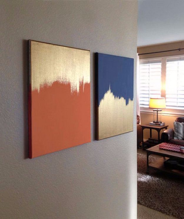 DIY Canvas Painting Ideas - Simple Gold and Solid Colored Canvas - Cool and Easy Wall Art Ideas You Can Make On A Budget #painting #diyart #diygifts