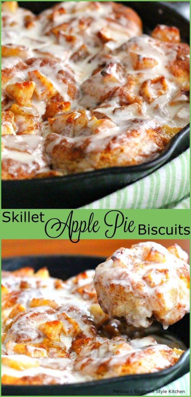 Best Canned Biscuit Recipes - Skillet Apple Pie Biscuits - Cool DIY Recipe Ideas You Can Make With A Can of Biscuits - Easy Breakfast, Lunch, Dinner and Desserts You Can Make From Pillsbury Pull Apart Biscuits - Garlic, Sour Cream, Ground Beef, Sweet and Savory, Ideas with Cheese - Delicious Meals on A Budget With Step by Step Tutorials