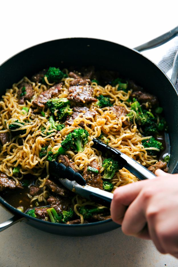 Best Broccoli Recipes - Skillet Beef And Broccoli Ramen - Recipe Ideas for Roasted, Steamed, Fresh or Frozen, Healthy, Cheesy, Soup, Salad, Casseroles and Side Dish Vegetables Made With Broccoli. Shrimp, Chicken, Pasta and Paleo Recipes. Easy Dinner, healthy vegetable recipes