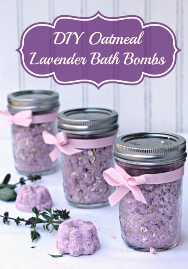 DIY Lavender Recipes and Project Ideas - Skin Soothing DIY Oatmeal Lavender Bath Bombs - Food, Beauty, Baking Tutorials, Desserts and Drinks Made With Fresh and Dried Lavender - Savory Lavender Recipe Ideas, Healthy and Vegan #lavender #diy