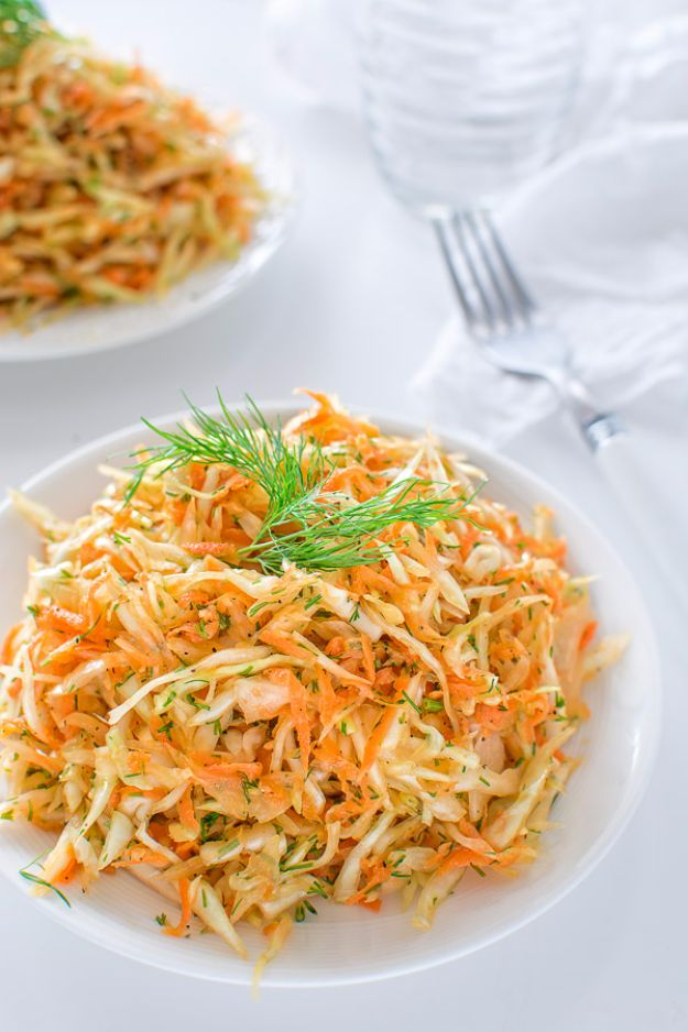 Best Dinner Salad Recipes - Skinny Cabbage Salad - Easy Salads to Make for Quick and Healthy Dinners - Healthy Chicken, Egg, Vegetarian, Steak and Shrimp Salad Ideas - Summer Side Dishes, Hearty Filling Meals, and Low Carb Options http://diyjoy.com/dinner-salad-recipes