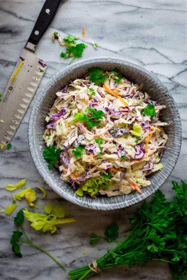 Best Dinner Salad Recipes - Skinny Classic Coleslaw - Easy Salads to Make for Quick and Healthy Dinners - Healthy Chicken, Egg, Vegetarian, Steak and Shrimp Salad Ideas - Summer Side Dishes, Hearty Filling Meals, and Low Carb Options http://diyjoy.com/dinner-salad-recipes