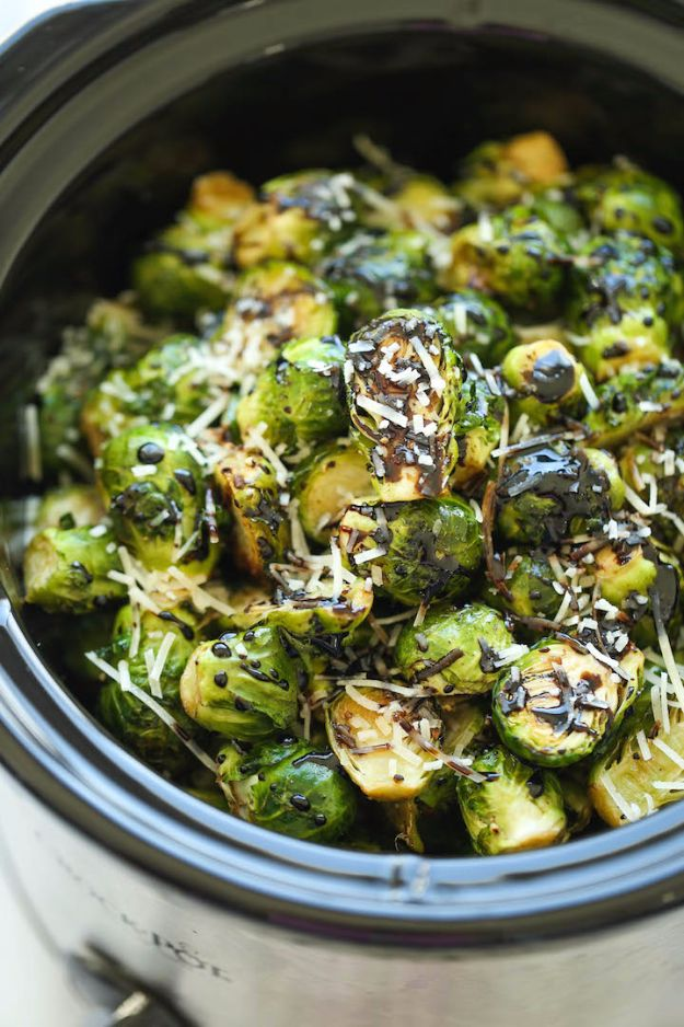 Best Brussel Sprout Recipes - Slow Cooker Balsamic Brussels Sprouts - Easy and Quick Delicious Ideas for Making Brussel Sprouts With Bacon, Roasted, Creamy, Healthy, Baked, Sauteed, Crockpot, Grilled, Shredded and Salad Recipe Ideas - Cool Lunches, Dinner, Snack, Side and DIY Dinner Vegetable Dishes http://diyjoy.com/best-brussel-sprout-recipes