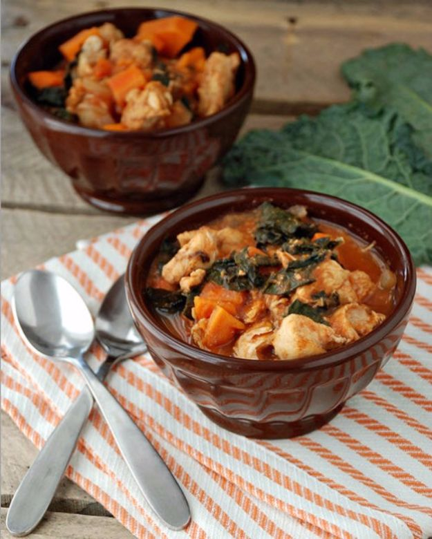 Healthy Crockpot Recipes to Make and Freeze Ahead - Slow Cooker Chicken, Sweet Potato, and Kale Stew - Easy and Quick Dinners, Soups, Sides You Make Put In The Freezer for Simple Last Minute Cooking - Low Fat Chicken, beef stew recipe