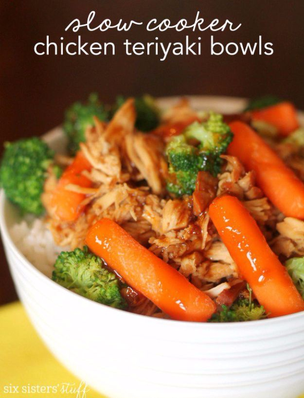 Healthy Crockpot Recipes to Make and Freeze Ahead - Slow Cooker Chicken Teriyaki Bowls - Easy and Quick Dinners, Soups, Sides You Make Put In The Freezer for Simple Last Minute Cooking - Low Fat Chicken, Veggies, Stews, Vegetable Sides and Beef Meals for Your Slow Cooker and Crock Pot http://diyjoy.com/healthy-crockpot-recipes