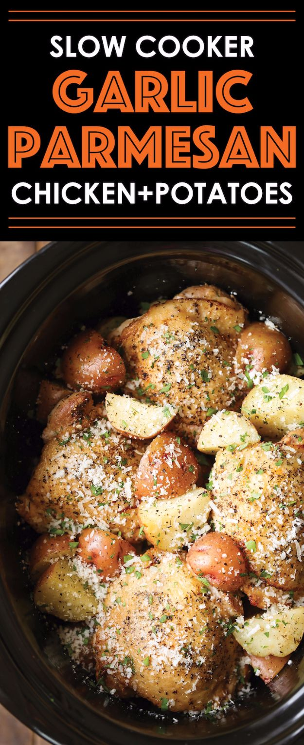 Healthy Crockpot Recipes to Make and Freeze Ahead - Slow Cooker Garlic Parmesan Chicken And Potatoes - Easy and Quick Dinners, Soups, Sides You Make Put In The Freezer for Simple Last Minute Cooking - Low Fat Chicken, beef stew recipe