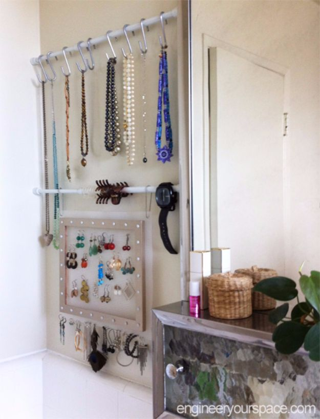 Cool DIY Ideas With Tension Rods - Small Bathroon Jewelry Storage With Tension Rods - Quick Do It Yourself Projects, Easy Ways To Save Money, Hacks You Can Do With A Tension Rod - Window Treatments, Small Spaces, Apartments, Storage