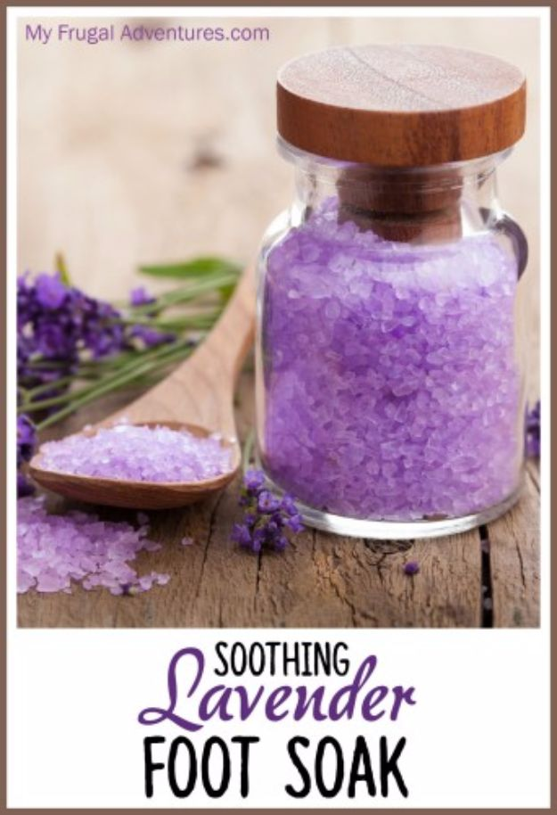 DIY Lavender Recipes and Project Ideas - Soothing Lavender Foot Soak - Food, Beauty, Baking Tutorials, Desserts and Drinks Made With Fresh and Dried Lavender - Savory Lavender Recipe Ideas, Healthy and Vegan #lavender #diy