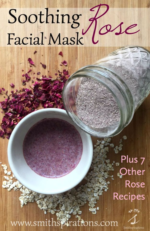 DIY Ideas With Rose Petals - Soothing Rose Facial Mask - Crafts and DIY Projects, Recipes You Can Make With Rose Petals - Creative Home Decor and Gift Ideas Make Awesome Mothers Day and Christmas Gifts - Crafts and Do It Yourself by DIY JOY http://diyjoy.com/diy-ideas-rose-petals