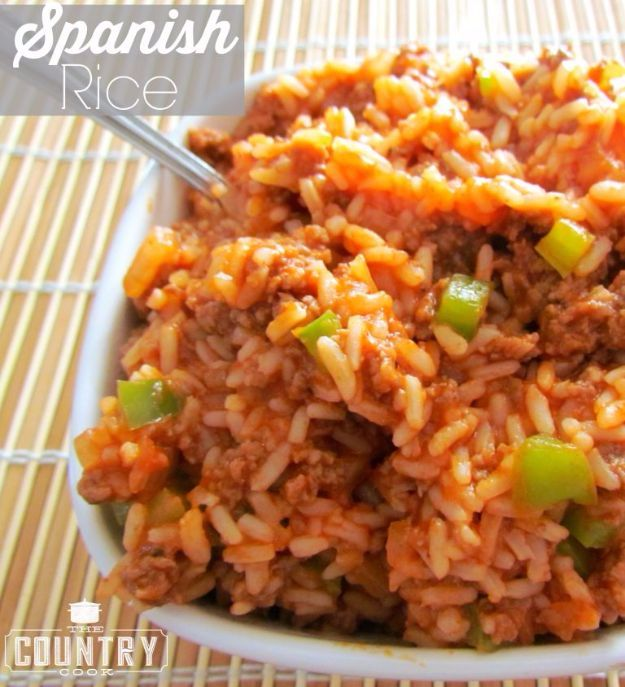 Best Rice Recipes - Spanish-Style Rice - Easy Ideas for Quick Meals Made From a Bag of Rice - Healthy Recipes With Brown, White and Arborio Rice - Cheesy, Fried, Asian, Mexican Flavored Dinner Dishes and Side Dishes - DIY Projects and Crafts by DIY JOY http://diyjoy.com/best-rice-recipes