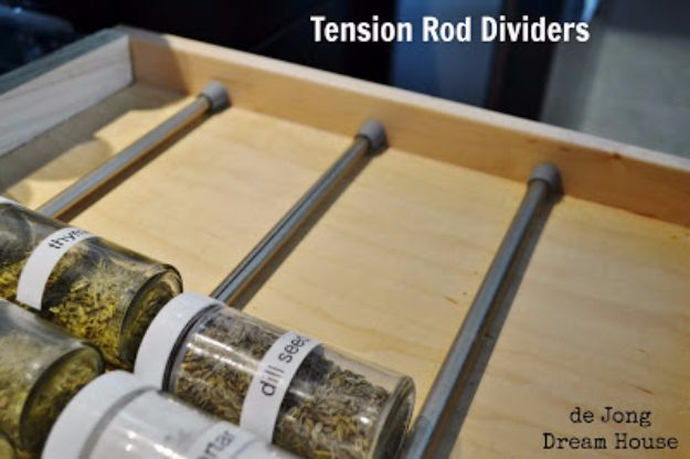 Cool DIY Ideas With Tension Rods - Spice Drawer Divider - Quick Do It Yourself Projects, Easy Ways To Save Money, Hacks You Can Do With A Tension Rod - Window Treatments, Small Spaces, Apartments, Storage