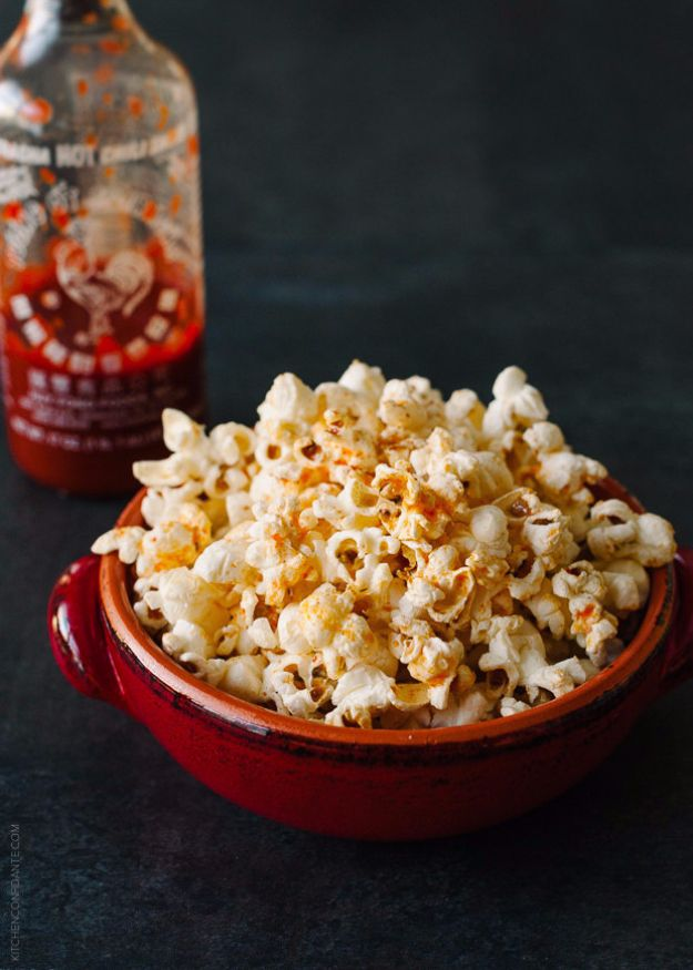 Easy Snacks You Can Make In Minutes - Spicy Sriracha Popcorn - Quick Recipes and Tricks for Making After Workout and After School Snack - Fast Ideas for Instant Small Meals and Treats - No Bake, Microwave and Simple Prep Makes Snacking Fun http://diyjoy.com/easy-snacks- recipes
