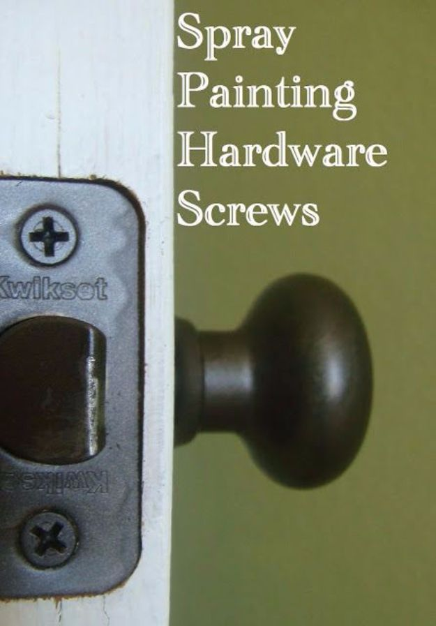 Spray Painting Tips and Tricks - Spray Painting Hardware Screws - Home Improvement Ideas and Tutorials for Spray Painting Furniture, House, Doors, Trim, Windows and Walls - Step by Step Tutorials and Best How To Instructions - DIY Projects and Crafts by DIY JOY #diyideas