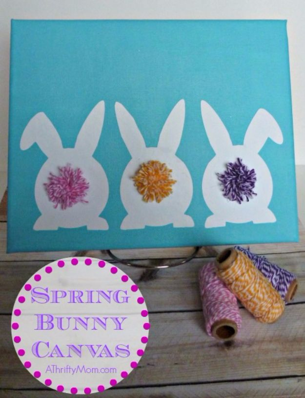 DIY Canvas Painting Ideas - Spring Bunny Canvas Art - Cool and Easy Wall Art Ideas You Can Make On A Budget #painting #diyart #diygifts
