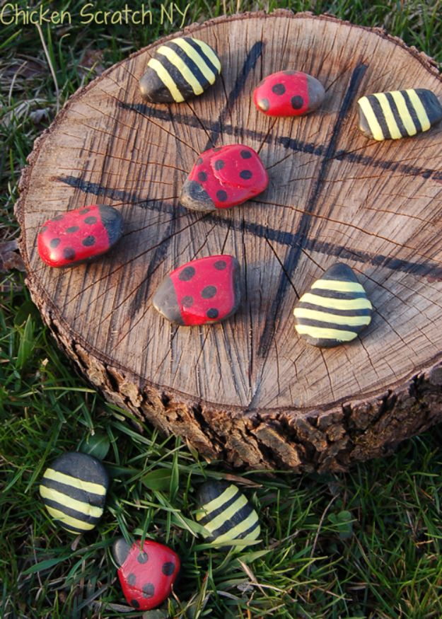 Best DIY Backyard Games - Spring Time Tic-Tac-Toe - Cool DIY Yard Game Ideas for Adults, Teens and Kids - Easy Tutorials for Cornhole, Washers, Jenga, Tic Tac Toe and Horseshoes - Cool Projects for Outdoor Parties and Summer Family Fun Outside #diy #backyard #kids #games