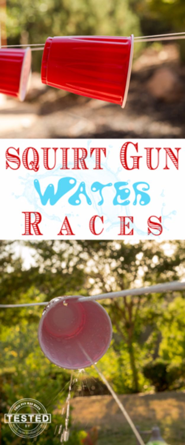Best DIY Backyard Games - Squirt Gun Water Races - Cool DIY Yard Game Ideas for Adults, Teens and Kids - Easy Tutorials for Cornhole, Washers, Jenga, Tic Tac Toe and Horseshoes - Cool Projects for Outdoor Parties and Summer Family Fun Outside #diy #backyard #kids #games