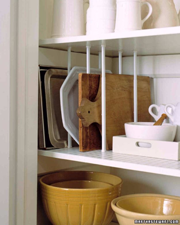 Cool DIY Ideas With Tension Rods - Stack Kitchenwares Vertically - Quick Do It Yourself Projects, Easy Ways To Save Money, Hacks You Can Do With A Tension Rod - Window Treatments, Small Spaces, Apartments, Storage