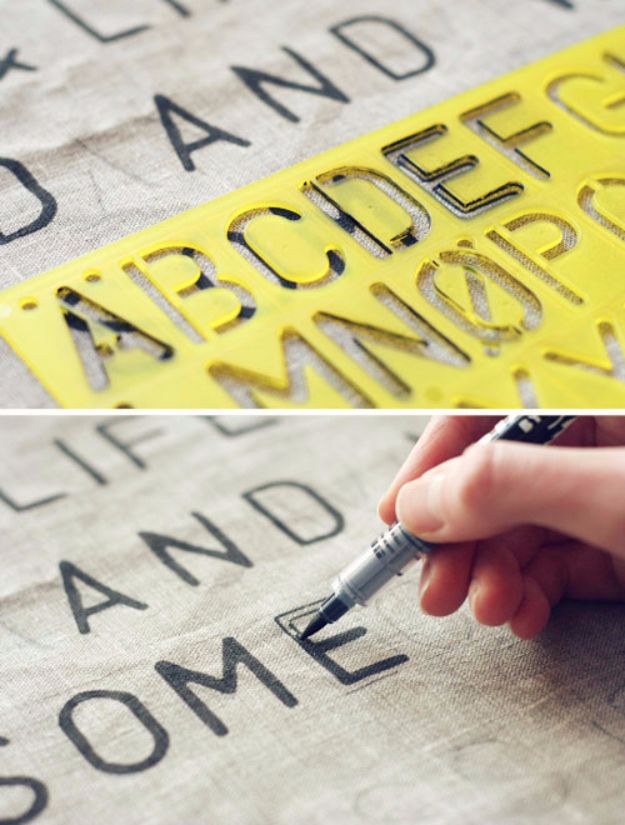 DIY Canvas Painting Ideas - Stencil Text on Fabric - Cool and Easy Wall Art Ideas You Can Make On A Budget #painting #diyart #diygifts
