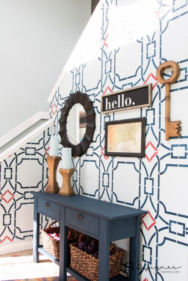 DIY Home Improvement On A Budget - Stencil Your Walls - Easy and Cheap Do It Yourself Tutorials for Updating and Renovating Your House - Home Decor Tips and Tricks, Remodeling and Decorating Hacks - DIY Projects and Crafts by DIY JOY http://diyjoy.com/diy-home-improvement-ideas-budget
