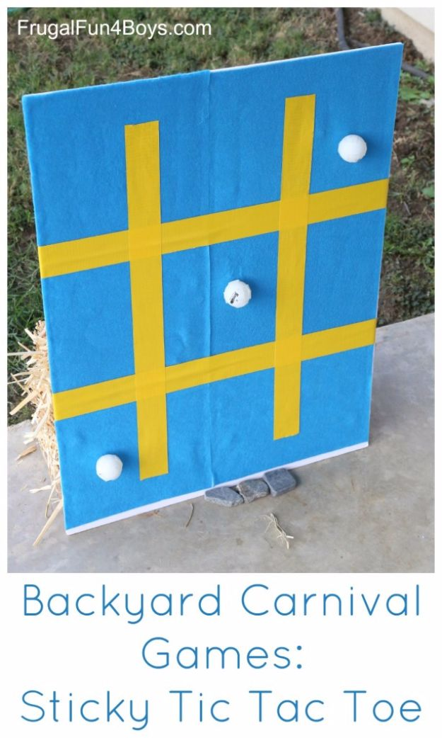 Best DIY Backyard Games - Sticky Tic Tac Toe - Cool DIY Yard Game Ideas for Adults, Teens and Kids - Easy Tutorials for Cornhole, Washers, Jenga, Tic Tac Toe and Horseshoes - Cool Projects for Outdoor Parties and Summer Family Fun Outside #diy #backyard #kids #games